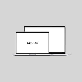 Minimales laptopmodell mit zwei bildschirmen