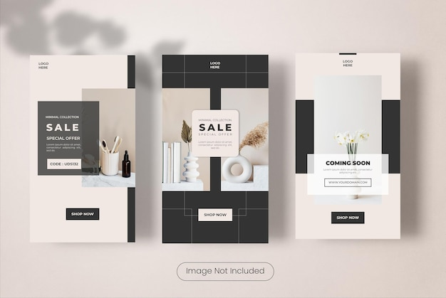 Minimales möbel-instagram-geschichten-vorlagen-banner-set