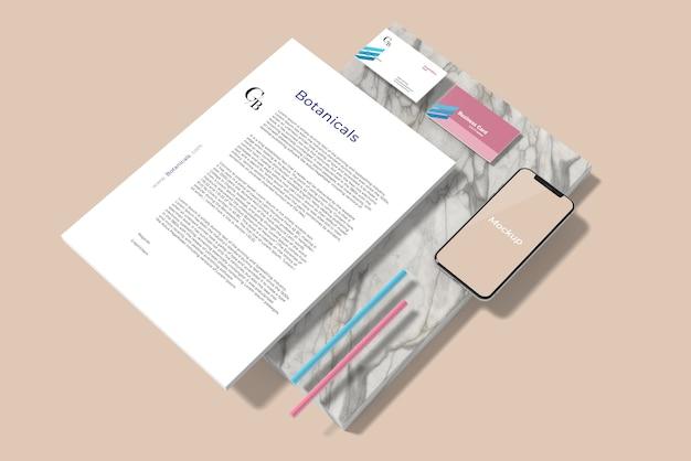 Minimales schreibwaren-branding-modell