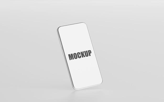 Minimales smartphone-modell mit leerem bildschirm beim 3d-rendering