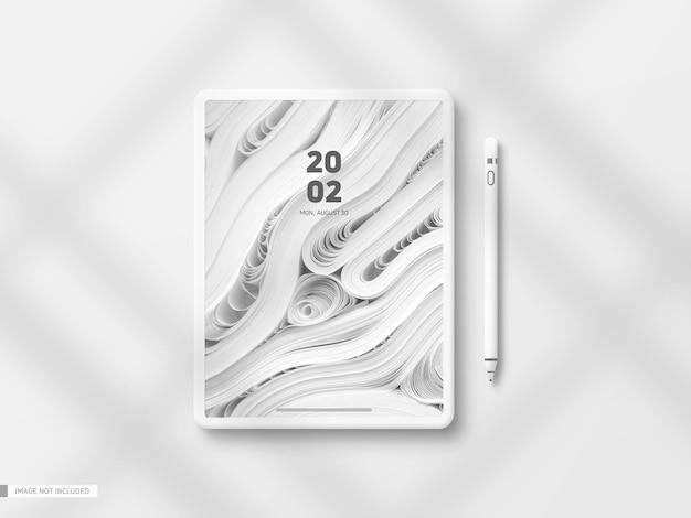 Minimales weißes tablet-mockup mit stift