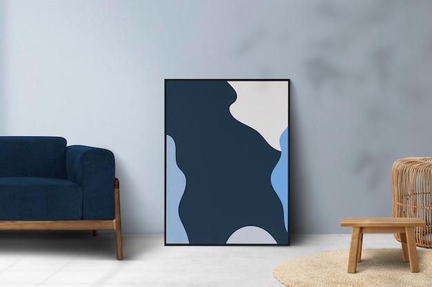 Minimales wohnzimmer-mockup-psd-innendesign