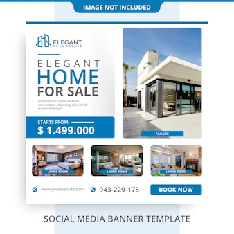 Minimalist agent home for sale immobilien banner promotions vorlage