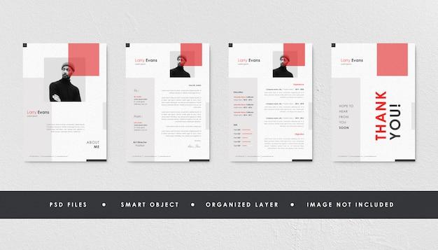 Minimalist red resume curriculum template bundle