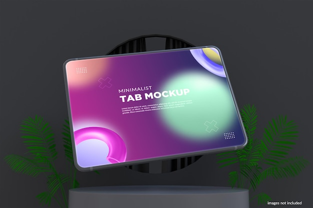 Minimalist tab mockup design im dunklen modus