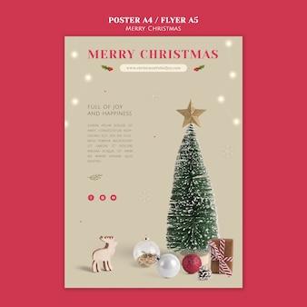 Minimalistische festliche weihnachtsdruckvorlage