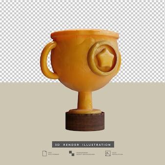 Minimalistische goldtrophäe im tonstil mit sternsymbol 3d-darstellung