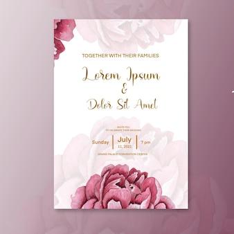 Minimalistische hochzeitseinladung mit rosenblüten