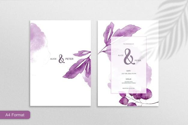 Minimalistische hochzeitseinladungsvorlage mit lila blättern auf weißem hintergrund