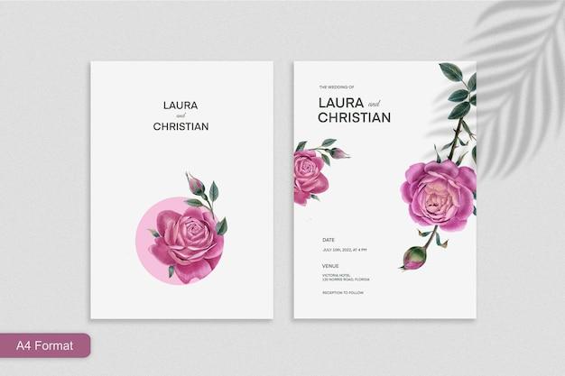 Minimalistische hochzeitseinladungsvorlage mit rosenblüte auf weißem hintergrund