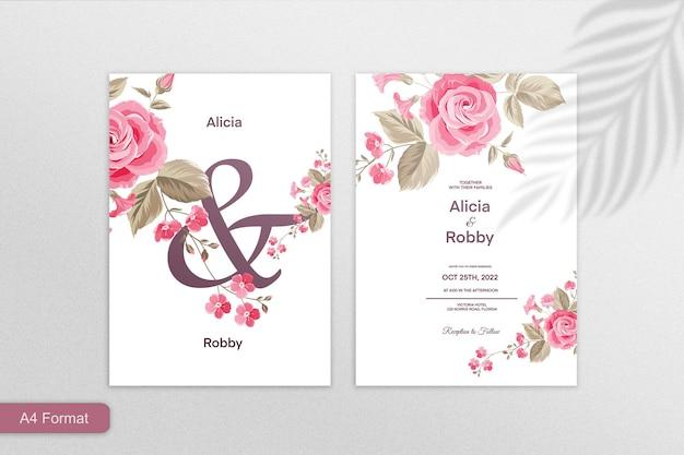 Minimalistische hochzeitseinladungsvorlage mit roter rosenblüte auf weißem hintergrund
