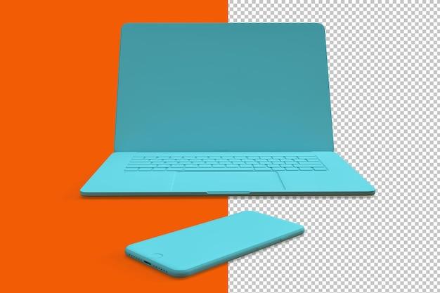 Minimalistische komposition mit blaugrünem laptop und smartphone auf orangem hintergrund