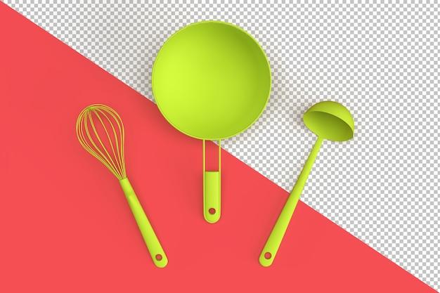Minimalistische komposition mit küchenutensilien