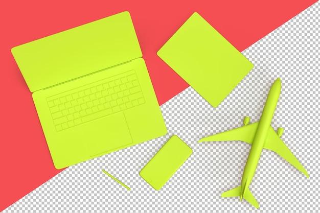 Minimalistische komposition mit laptop, handy und flugzeugmodell als reisekonzept