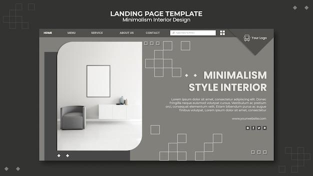 Minimalistische landingpage-vorlage für innenarchitektur