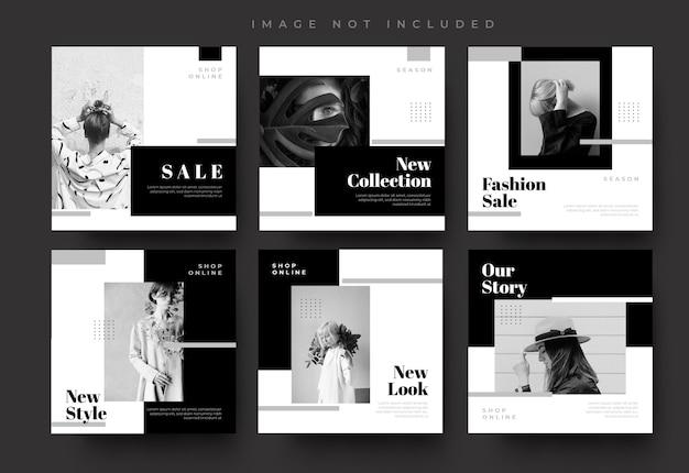 Minimalistische schwarze social media instagram feed post und geschichten mode verkauf banner vorlage