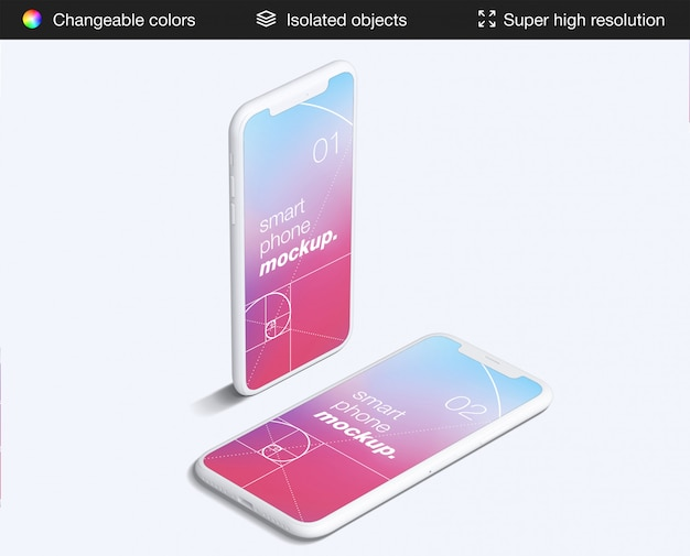 Minimalistische zwei high angle smartphones app bildschirme modell vorlage