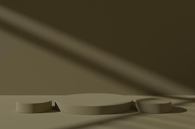 Minimalistischer 3d-podestszenenhintergrund mit schatten