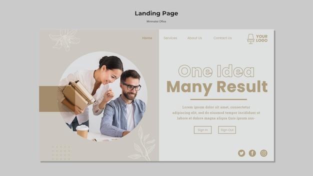 Minimalistischer büro-landingpage-stil