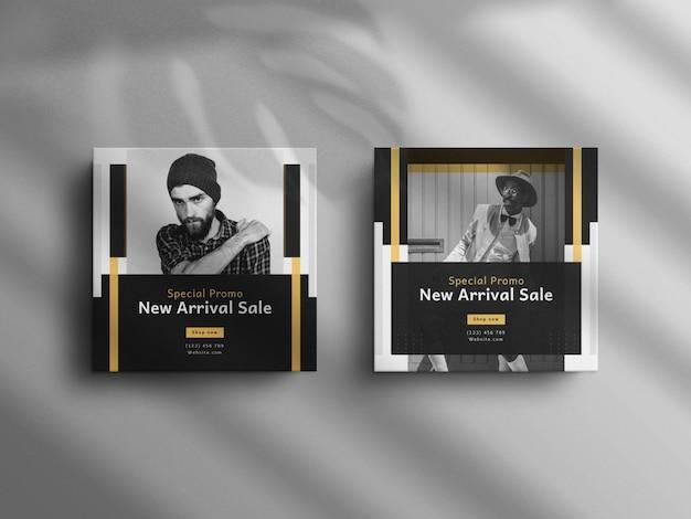 Minimalistischer instagram-post und square-mode-sale-banner mit einem luxusmodell