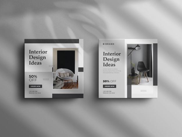 Minimalistischer instagram-post und square real estate-innenmöbel-banner mit einem luxusmodell