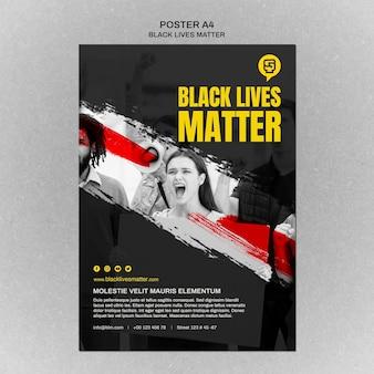 Minimalistischer schwarzer lebensmaterie-flyer mit foto