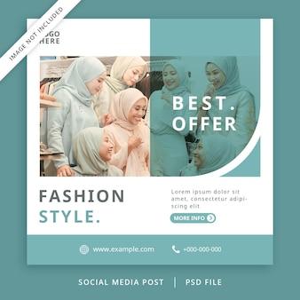 Minimalistischer und moderner tosca fashion flyer oder social media banner