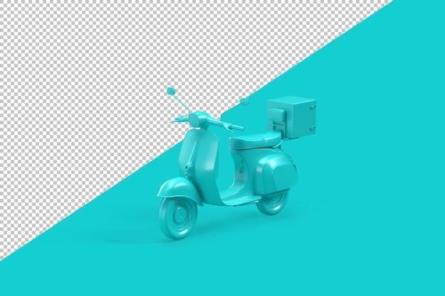 Minimalistischer vintage-roller auf aquamarinem hintergrund. 3d-darstellung