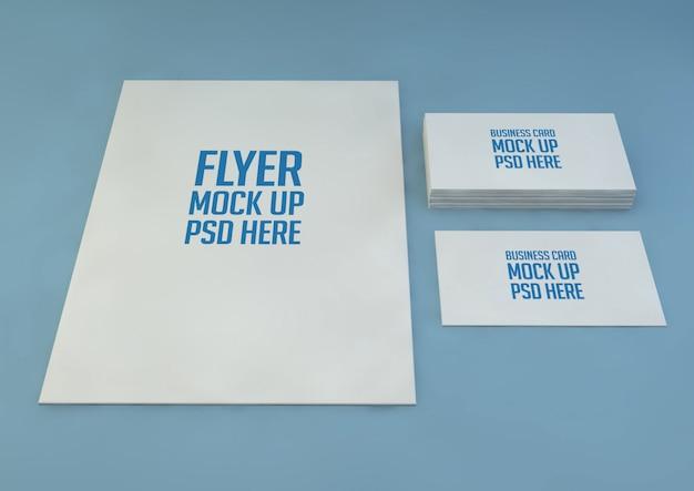 Minimalistisches a4-papier mit visitenkartenmodell premium psd