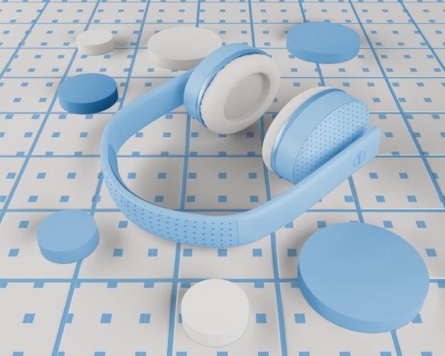 Minimalistisches design der blauen kopfhörer