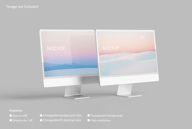 Minimalistisches dual-pc-desktop-bildschirmmodell