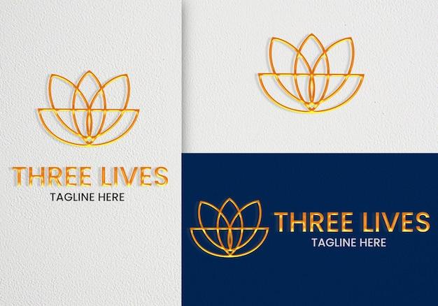 Minimalistisches elegantes logo-mockup mit line art premium psd