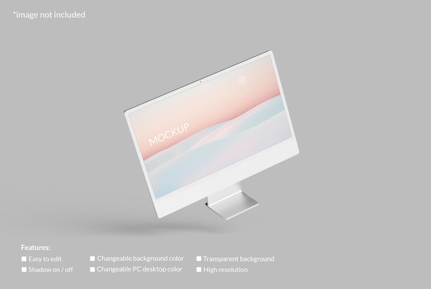 Minimalistisches fliegendes pc-desktop-bildschirmmodell