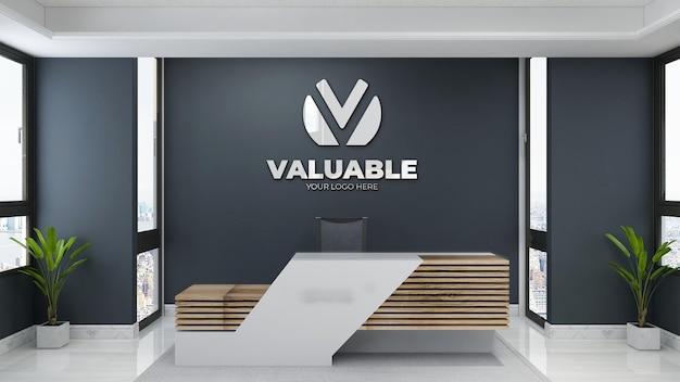 Minimalistisches logo-mockup-schild im büroraum des empfangshotels