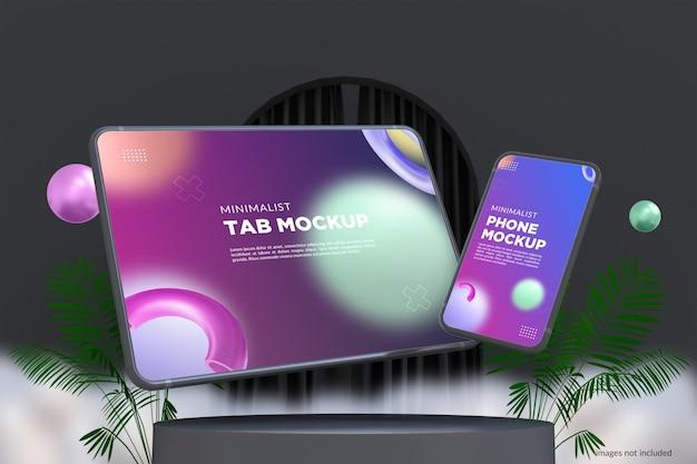 Minimalistisches mockup-design für telefon und tab im dunklen modus