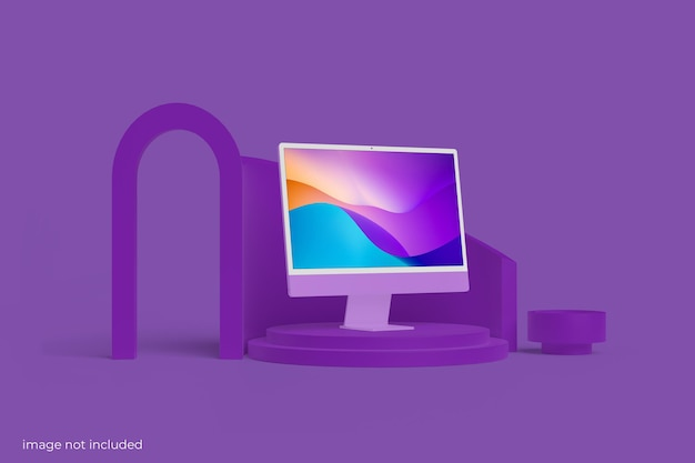 Minimalistisches pc-desktop-bildschirmmodell