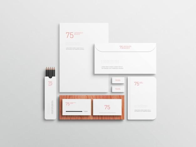 Minimalistisches weißes stationäres set-modell