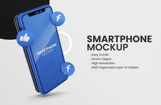 Mit 3d-render-snapchat-symbol smartphone-modell