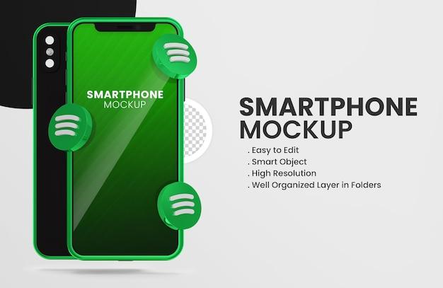 Mit 3d-render-spotify-symbol smartphone-modell