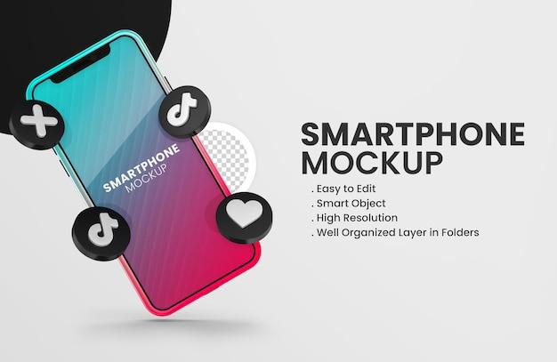 Mit 3d-render-tiktok-symbol smartphone-modell m