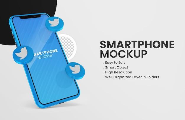 Mit 3d-render-twitter-symbol smartphone-modell m Premium PSD