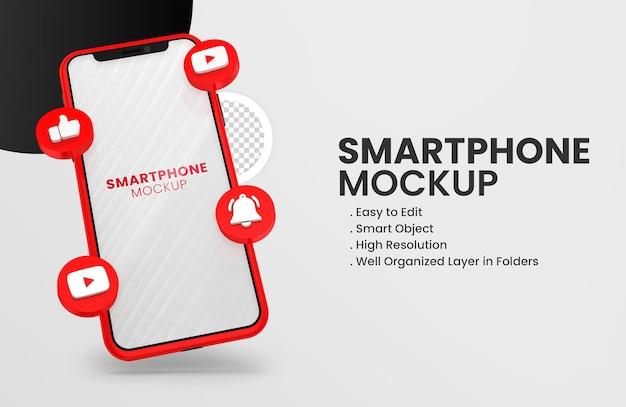 Mit 3d-render-youtube-symbol smartphone-modell