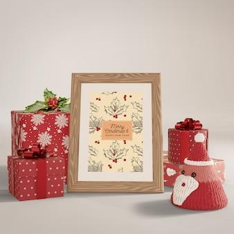Mit eingewickelten geschenken herum malen
