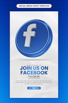 Mit facebook 3d-render-symbol für social media und instagram-story-vorlage