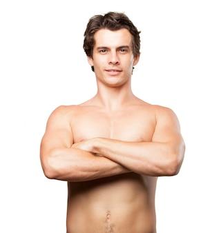 Mit nacktem oberkörper muskulöser mann