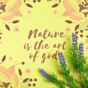 Mitteilung über natur auf papierblatt mit lavendel dazu
