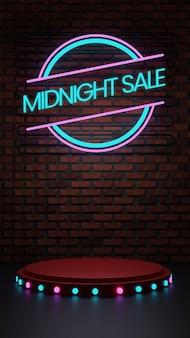 Mitternachtspodest mit neon und ziegelwand