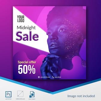 Mitternachtsverkaufsrabatt bieten social media-beitragsschablone an