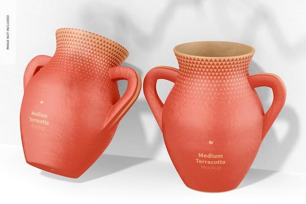 Mittlere terrakotta-vasen mit griffen mockup, angelehnt