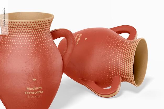 Mittlere terrakotta-vasen mit griffen mockup, nahaufnahme